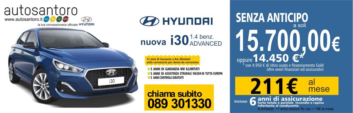 Hyundai i30 1.4 Advanced con 12 anni di garanzia a km illimitati su danni alla carrozzeria dovuti alla corrosione