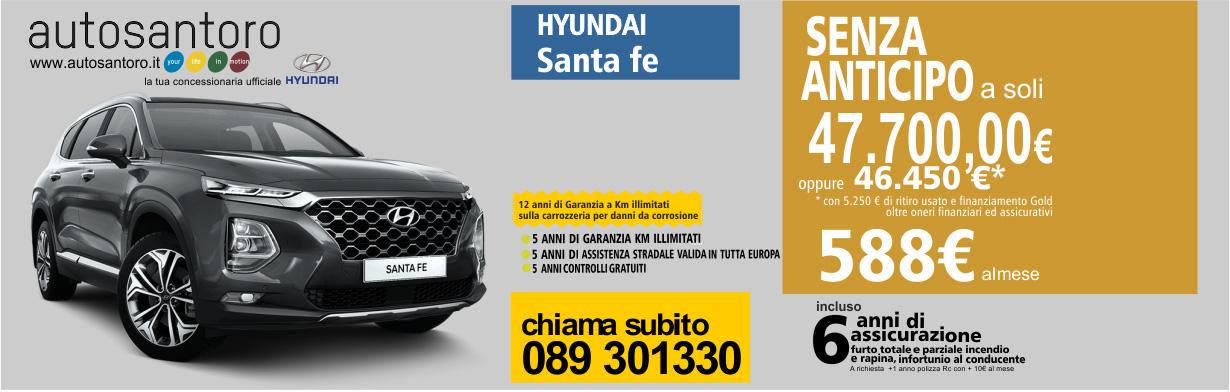 Hyundai SantaFe con 5 anni di garanzia a Km illimitati  - 5 anni di assistenza stradale - 5 anni di controlli gratuiti