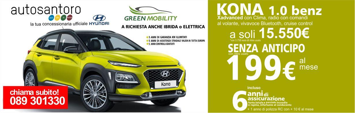 Nuova Hyundai Kona 1.0 Benz. XAdvanced con clima, comandi al volante, bluethoot e cruise control