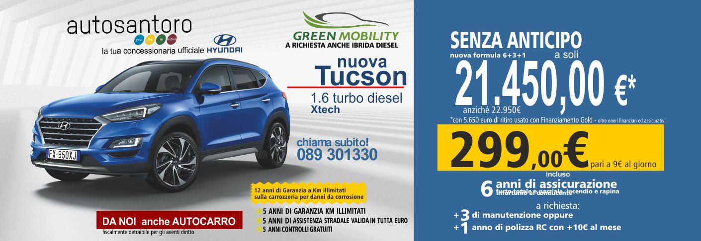 Nuova Hyundai Tucson 1.6 GDI Benz. XAdvanced con cerchi in lega, radio integrata con comandi al volante e vivavoce, bluethoot.